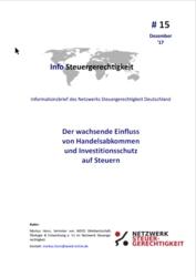 Info Steuergerechtigkeit: Der wachsende Einfluss  von Handelsabkommen  und Investitionsschutz  auf Steuern