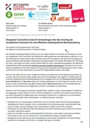 Brief an Minister zu länderspezifischen Unternehmensberichten