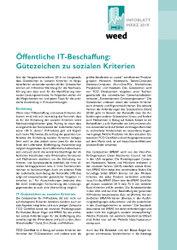 """WEED-Infoblatt """"Öffentliche IT-Beschaffung: Gütezeichen zu sozialen Kriterien"""""""