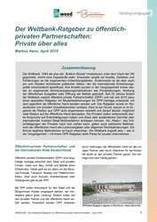 Hintergrundpapier: Der Weltbank-Ratgeber zu öffentlich-privaten Partnerschaften:  Private über alles