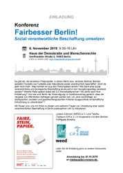 """SAVE THE DATE: """"FAIRBESSER BERLIN! Sozial verantwortliche Beschaffung umsetzen"""""""
