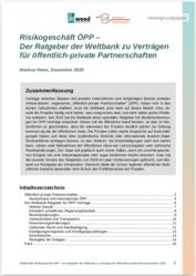 Hintergrund: Risikogeschäft ÖPP - Der Ratgeber der Weltbank zu Verträgen für öffentlich-private Partnerschaften