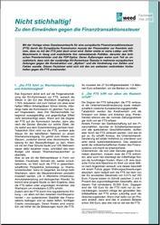Factsheet entkräftet Kritik an Finanztransaktionssteuer