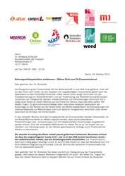 Brief zur Nahrungsmittelspekulation an Schäuble