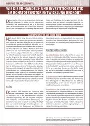 Briefing für Abgeordnete: Wie die EU-Handels- und Investitionspolitik im Rohstoffsektor Entwicklung bedroht