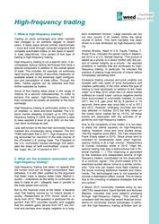 Factsheet: High-Frequency Trading