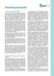 Faktenblatt: Hochfrequenzhandel
