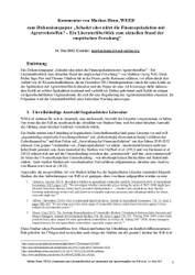 Kommentar zum Literaturüberblick zu Agrarspekulation