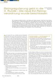 Ratingregulierung geht in die 3. Runde - Die neue EU-Ratingverordnung
