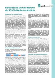 Infoblatt: Geldwäsche und die Reform der EU-Geldwäscherichtlinie