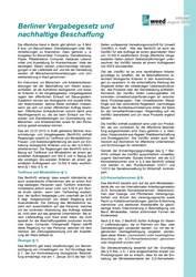 Infoblätter: Berliner Vergabegesetz und Leitfäden zu nachhaltiger Beschaffung