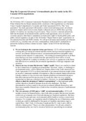 Stop the Corporate Giveaway! A transatlantic plea for sanity in the EU-Canada CETA negotiations