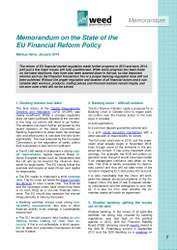 Memorandum on the State of the  EU Financial Reform Policy