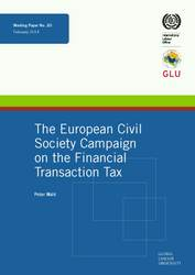 Working Paper: The European Civil Society Campaign on the Financial Transaction Tax