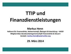 Präsentation: TTIP und Finanzdienstleistungen