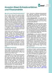 Infoblatt: Investor-Staat-Schiedsverfahren und Finanzmärkte