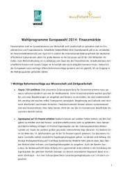 Wahlprogramme Europawahl 2014: Finanzmärkte