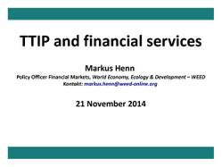 Presentation: TTIP and financial services