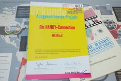 """Auszeichnung des Projektes """"Die HANDY-Connection"""" durch WeltWeitWissen"""